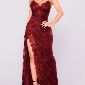 Burgundy lace formal/prom dress